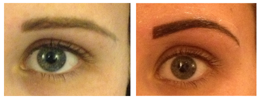 Eyebrow colour boost before and after