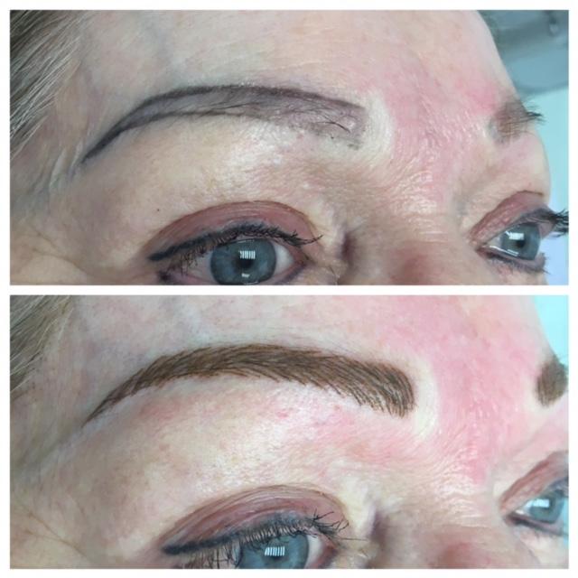 Permanent Makeup: Hairstroke eyebrows using machine